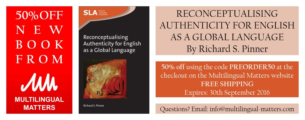 Use this discount code at the Multilingual Matters website in order to get 50% off and free worldwide shipping